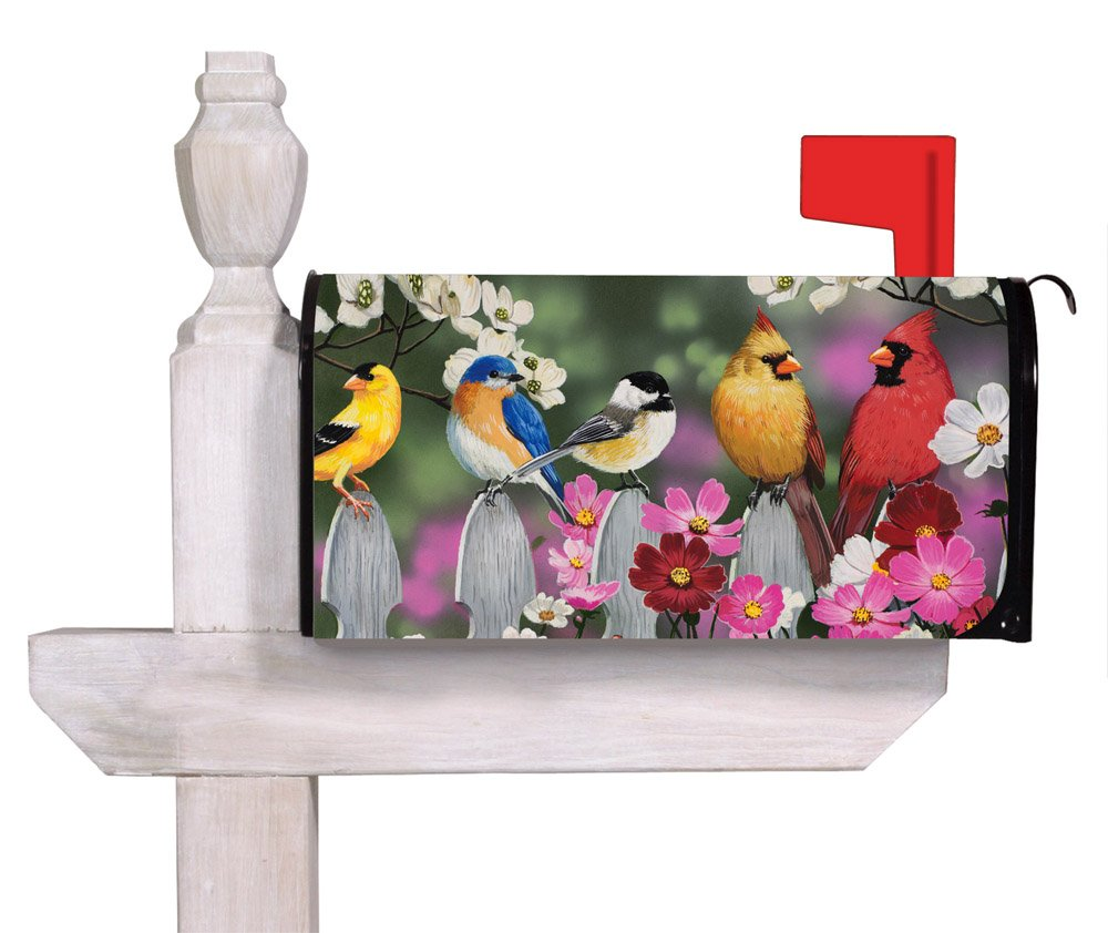 "Evergreen Flag Picket Fence Bird Friends Magnetic Mailbox Cover - 18""W x 24""H"