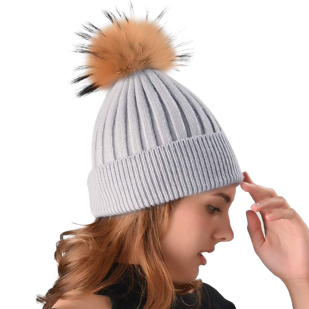 a533ae4f5b7 Womens Winter Knit Beanie Hats Real Fur Pom Cashmere Blended Skull Cap Ski  Hat at Amazon Women s Clothing store