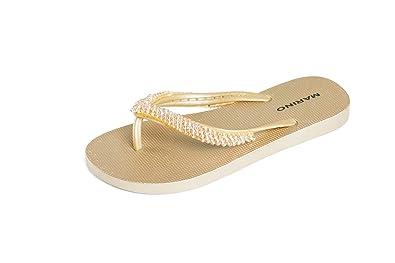 ff93a8bc0c66 MARINO Ladies Silver Summer Sandals Cute Sparkly Diamante Flip Flops for  Women