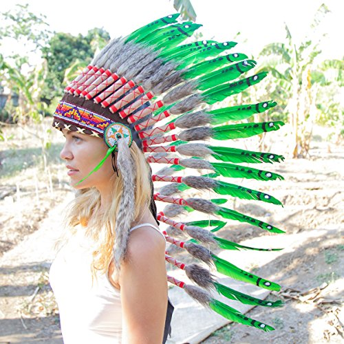 [Novum Crafts Feather Headdress | Native American Indian Inspired | Green] (Indian Headress)