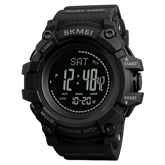 Relojes Deportivos de brújula para Hombre, podómetro, calorías, Reloj Digital, Escalada, barómetro, termómetro, Reloj de Pulsera: Amazon.es: Relojes