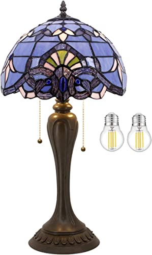 Blue Purple Baroque Tiffany Style Table Lamp Lighting W12H22 Inch LED Bulb Included Lavender Stained Glass Lampshade S003C WERFACTORY Lamps Lover Kids Living Room Bedroom Bedside Desk Antique Gifts