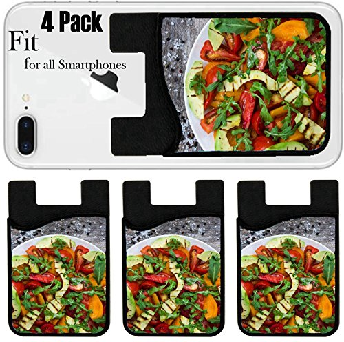 Microfiber Salad (Liili Phone Card holder sleeve/wallet for iPhone Samsung Android and all smartphones with removable microfiber screen cleaner Silicone card Caddy(4 Pack) Salad of grilled avocado yellow red and pink)