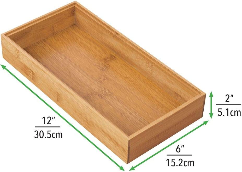 Rectangular Kitchen Drawer Divider Made of Bamboo Drawer Separator for Office and Craft Supplies Natural mDesign Set of 6 Desk and Drawer Organiser Box 22.9 cm x 7.6 cm x 5.1 cm
