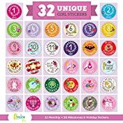 Massive Pack of 32 Ronica Baby Girl Stickers: 12 Baby Monthly Stickers + 20 Popular Milestones Baby Stickers - Record Your Baby's Growth, Holidays and Special Firsts - Unique Baby Gifts