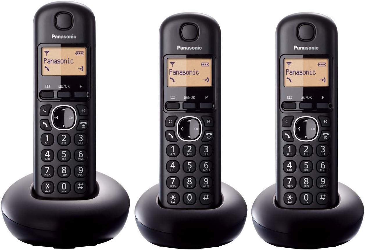 Panasonic KX-TGB213 - Teléfono fijo inalámbrico Trío (LCD, identificador de llamadas, Intercomunicación, agenda de 50 números, tecla de navegación, alarma, reloj), Negro, TGB21 Trio