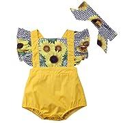 Canis Baby Girls' Full Flower Print Buttons Ruffles Romper Bodysuit with Headband (70(0-6M), Yellow)