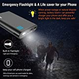 Portable External Charger Jackery Giant+ 12000mAh Dual USB Output Battery Pack Travel Backup Power Bank with Emergency LED Flashlight for iPhone, Samsung and Other Smart Devices - Black