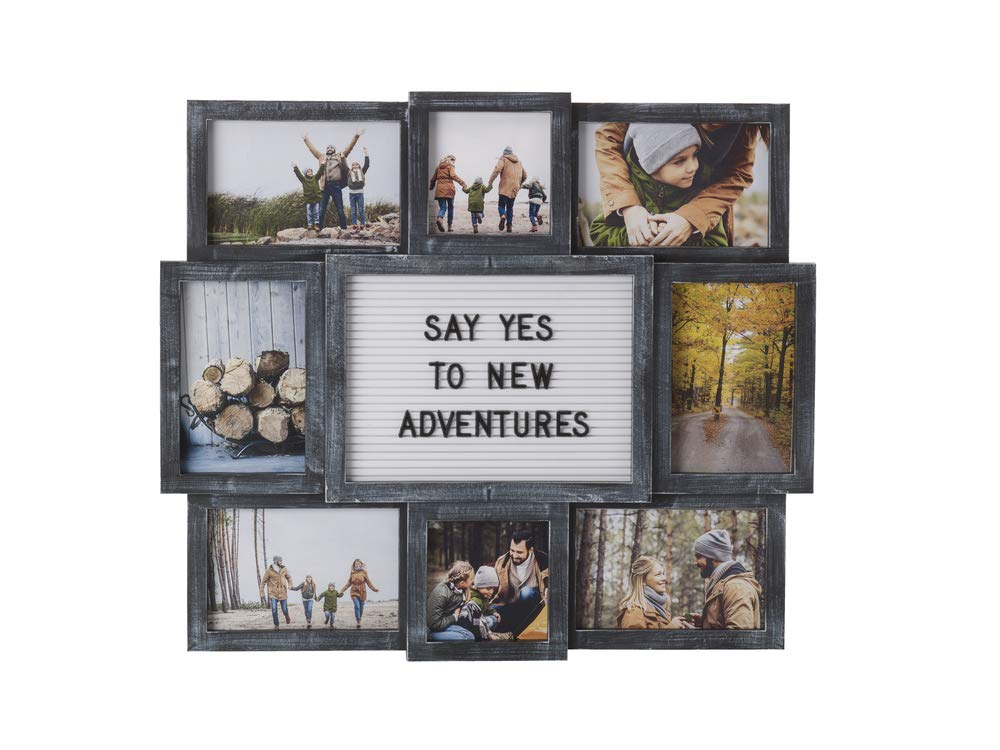 MELANNCO Customizable Letter Board with 8-Opening Photo Collage, 19-Inch-by-17-Inch, Black