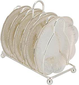 6-Pack Drink Coaster Set with Frame Holder Retro Metal Coaster for Bar Kitchen Home Decor, 3.9 Inches in Diameter(Silver)