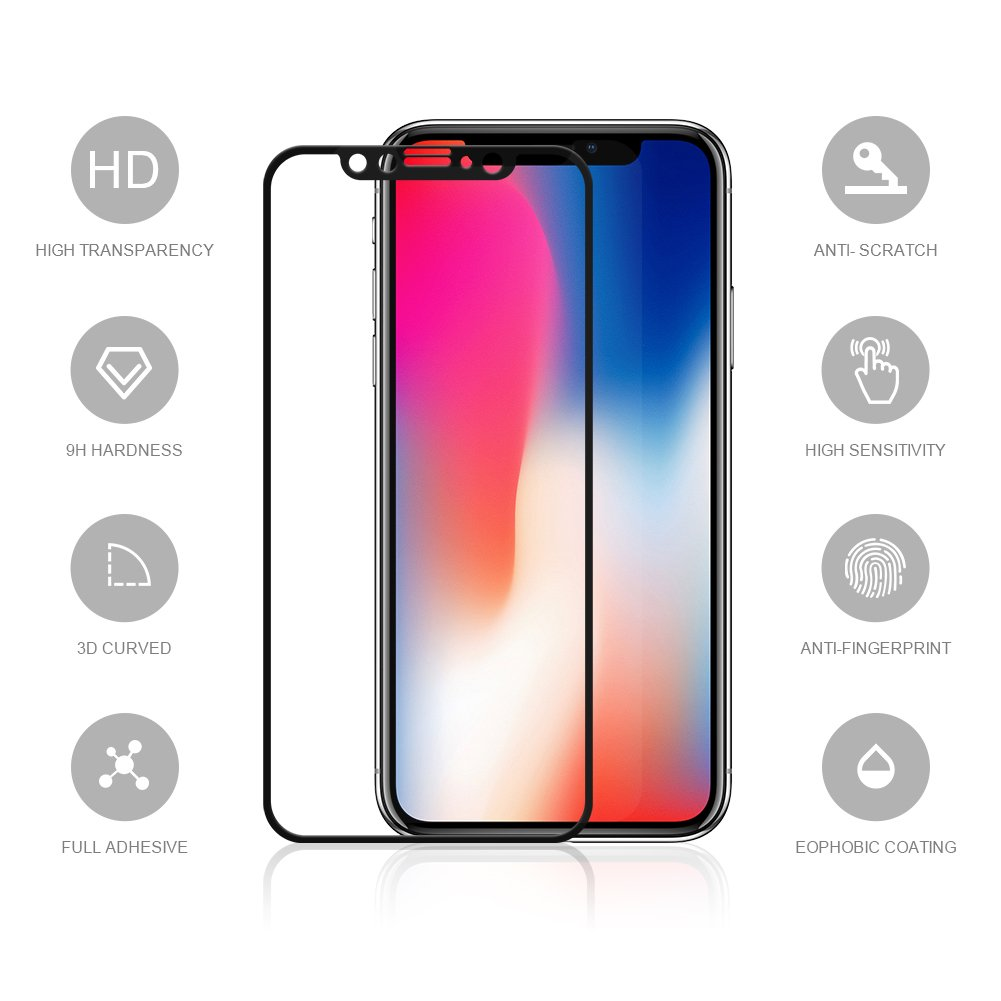 EyeO2 Screen Protector for iPhone X / 10 9H 3D Curved Tempered Glass Film Edge to Edge Anti-fingerprint Invisible Shield Protective Accessories for iPhone X HD Phone Screen Guard Black Case Friendly