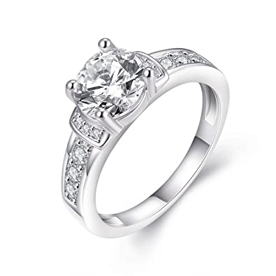 Womens Pretty 18K White Gold Plated Princess Cut Wedding Bands TIVANI Collection Jewelry Rings5