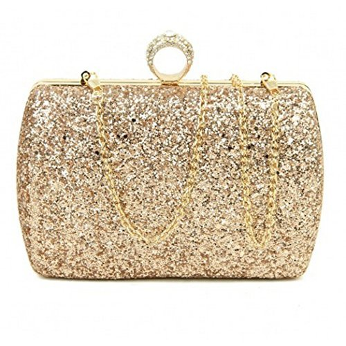 Bags Occasion Womens Party Prom Hardcase Hand Evening O44 Clutch Glitter Dressy Champagne Ladies 06v0wgx4