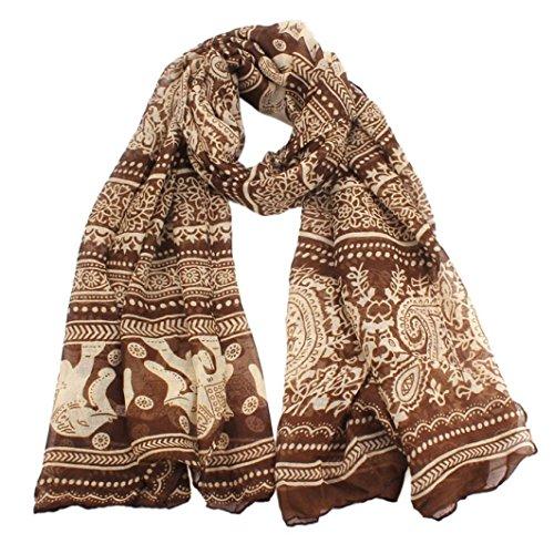Qingfan Lightweight Scarves: Fashion Stylish Soft Silk Chiffon Scarf Wrap Long Soft Ladies Neck Stole Elephant Print Shawl For Women Girls (A)