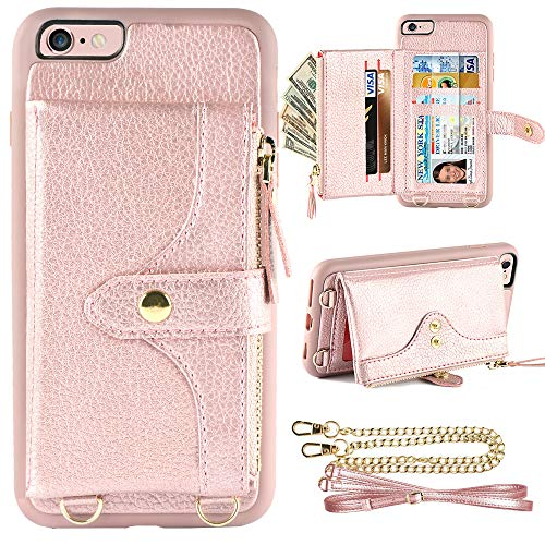 LAMEEKU Wallet Case Compatible with iPhone 6 Plus, iPhone 6S Plus Case Wallet Card Holder Case Wrist Chain Crossbody Strap Zipper Case for iPhone 6 Plus/iPhone 6S Plus, 5.5 inches-Rose Gold