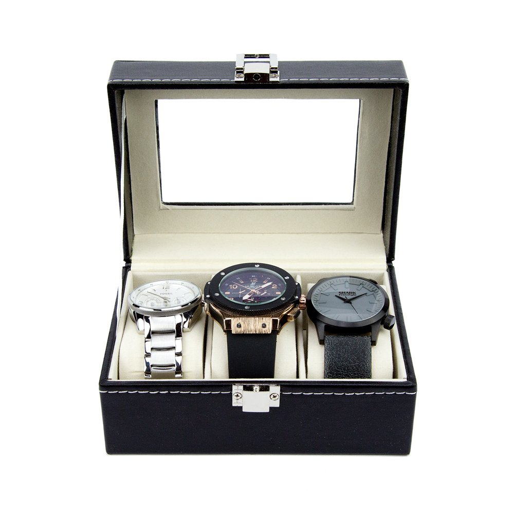 Watch Box - Luxury PU Leather Boxes for Men or Women - Modern, Glass Top Organizing Watches (3 Slot) by Satellas