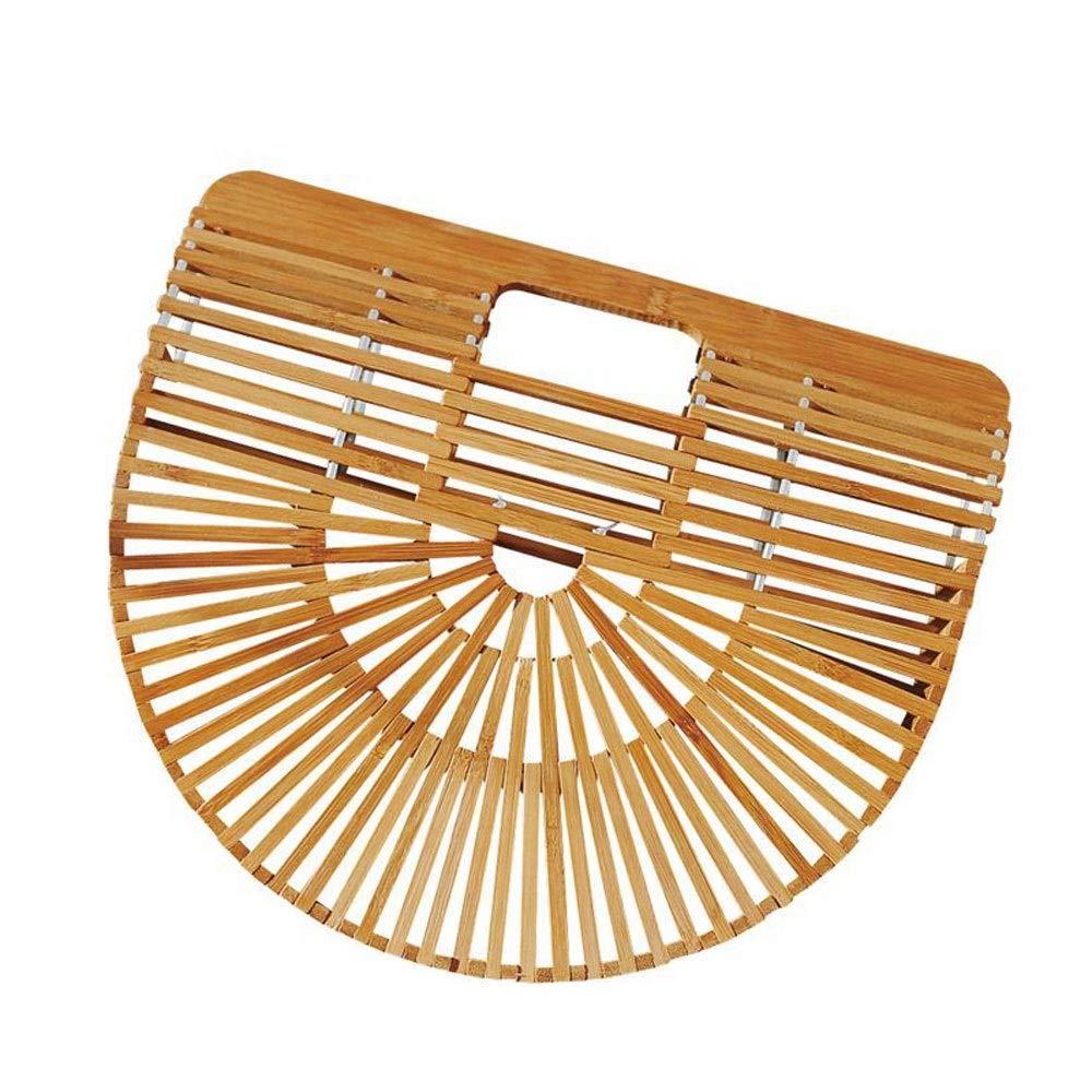 Size : Large Candtong Bamboo Handbag Handmade Tote Bamboo Purse Straw Beach Bag for Women