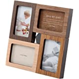 木製 フォトフレーム 壁掛け 卓上 写真立て カジュアル インテリア フォトスタンド 4枚用 〔正方形〕