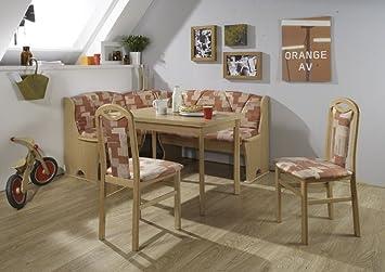 Scouts Eckbankgruppe Terra, Buche Natur Dekor Eckbank Tisch 2 Stühle  Terakotta Gemustert 4