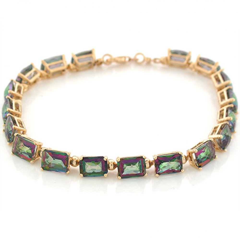 10k Yellow Gold Rectangular Mystic Topaz Modern Fancy Bracelet