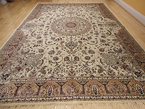 Stunning Silk Rug Persian Traditional Area Rugs Large 8x12 Living Room Rugs Ivory Rug Luxury 8x11 Silk Qum High Density Rug Large Rugs (Large 8'x12') Qum Silk Rugs
