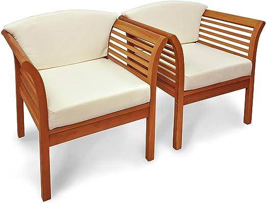 Indoba - Juego de 2 sillas de jardín Asiento Acolchado – Madera – Silla de Madera – Jardín terraza balcón – Sillón de jardín: Amazon.es: Jardín