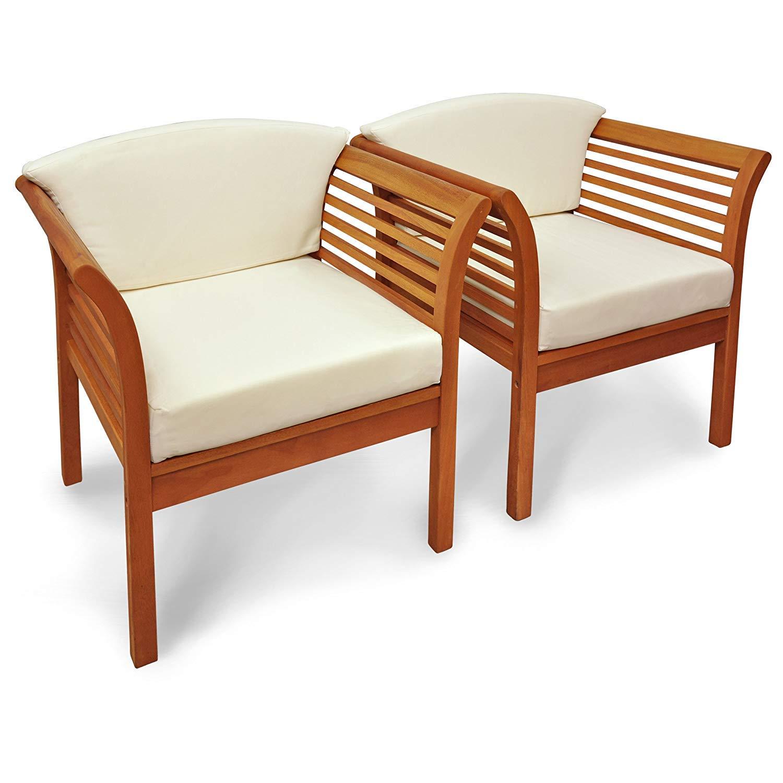 Indoba - Juego de 2 sillas de jardín Asiento Acolchado ...