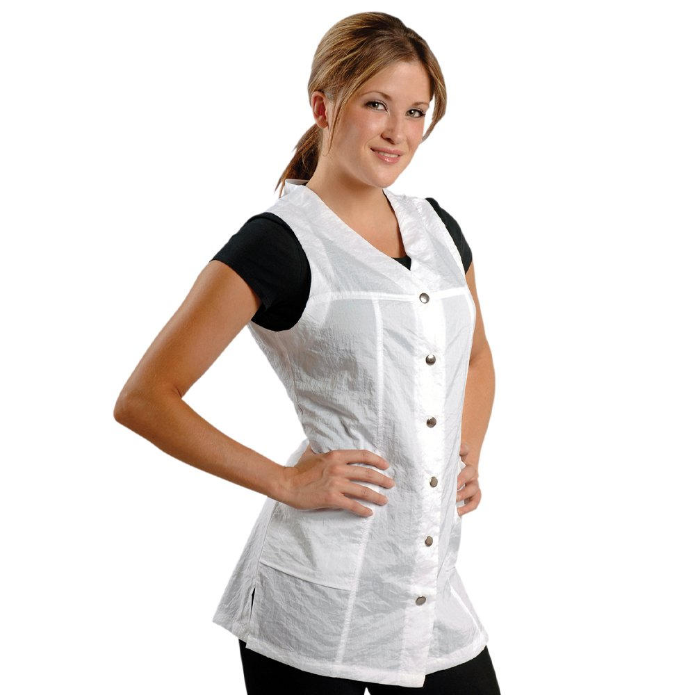 JMT Beauty Sleeveless White Salon Smock (L (10))