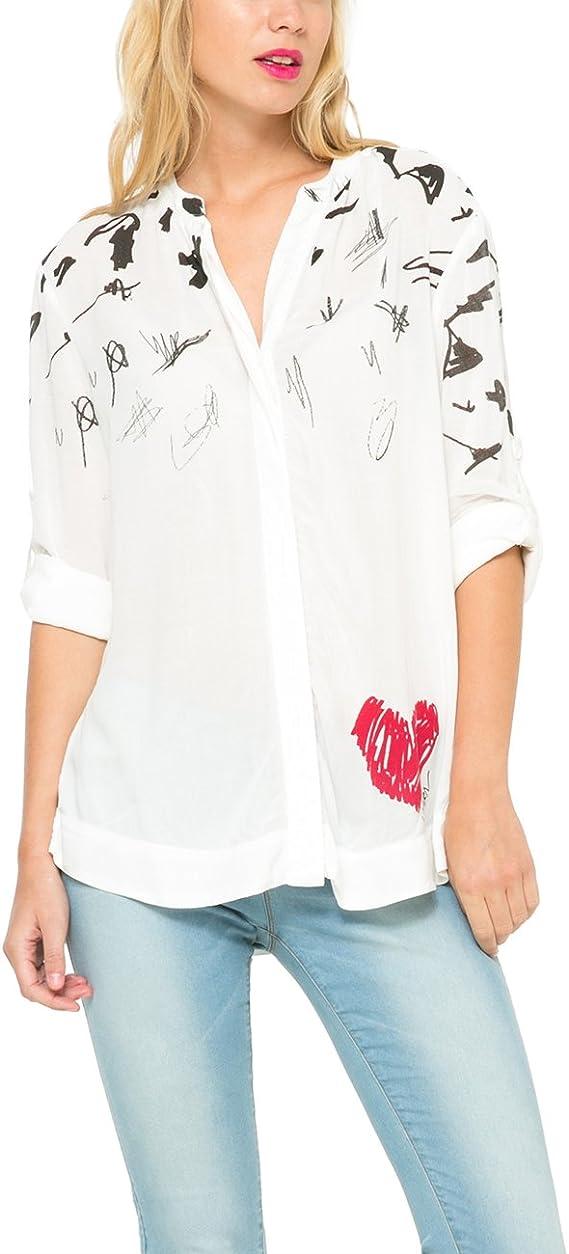 Desigual NEW - Blusa Mujer, Blanco (Tiza), talla 40: Amazon.es: Ropa y accesorios