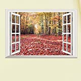 Homefind Fake Window Autumn Forest Wall Art Decor Removable 3D Window Red Maple Leaf Fallen Leaves Mural Wall Art Sticker Decal Home Decor for Living Room Office Home Decoration Ready to Hang Poster