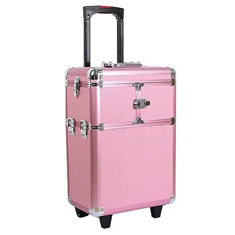 80a52914c HBF Maleta De Maquillaje Profesional Rosa Multiuso Maletin Para Maquillaje  Y Joyas Con Ruedas