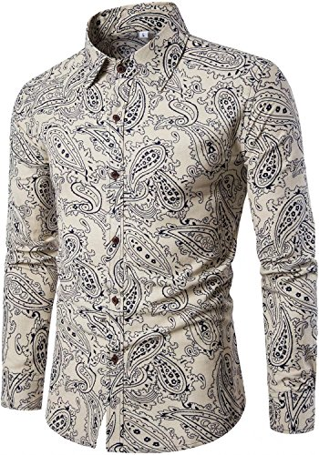 Paisley Design Shirt (HENGAO Men's Long Sleeves Novelty Design Paisley Floral Print Regular Fit Button Down Dress Shirt, Khaki)