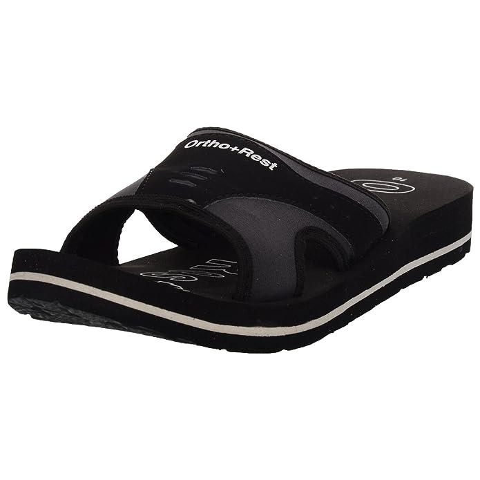 Ortho + Rest Black Slippers for Men Women's Flip-Flops & Slippers at amazon