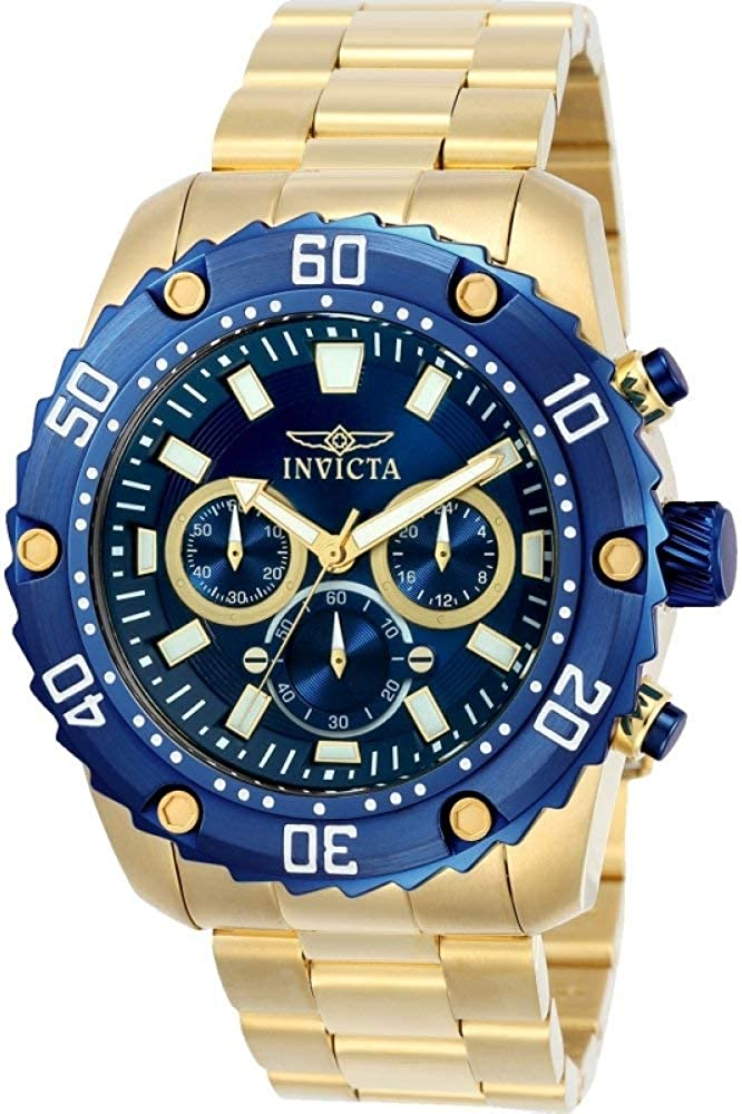 Invicta Men s Pro Diver Quartz Watch with Stainless-Steel Strap, Gold, 24 Model 22518