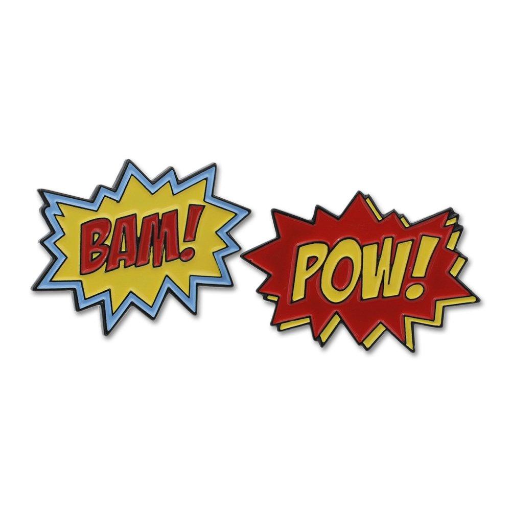 WIZARDPINS Superhero Action Sound Effect BAM POW Enamel Lapel Pin Combo Pack– 2 Pins