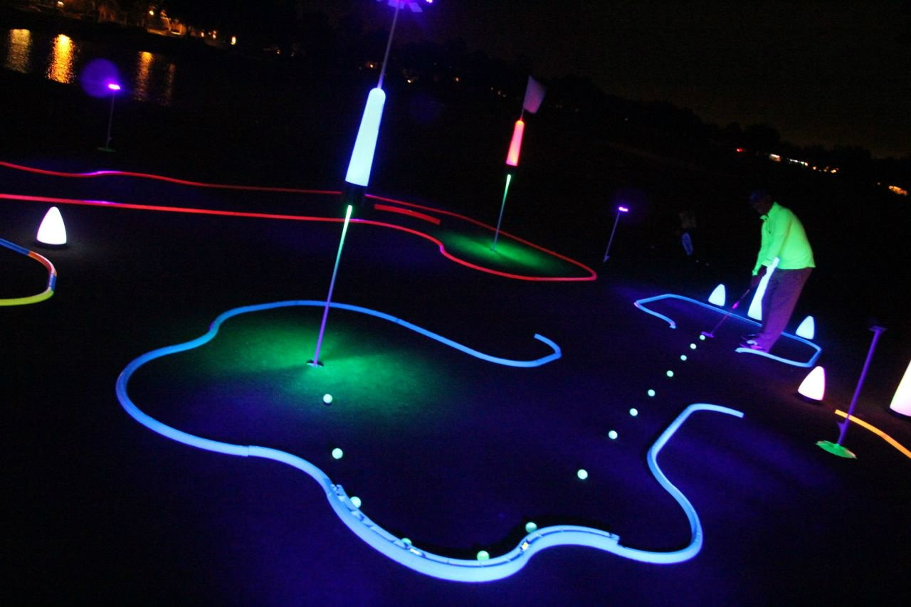Office Golf - Cosmic Putting Mini Golf Game - Offers Unlimited Hole Design Potential - Works on Carpet or Putting Green - Glows in Black Light - Unique, Inspiring Fun (BLUE)