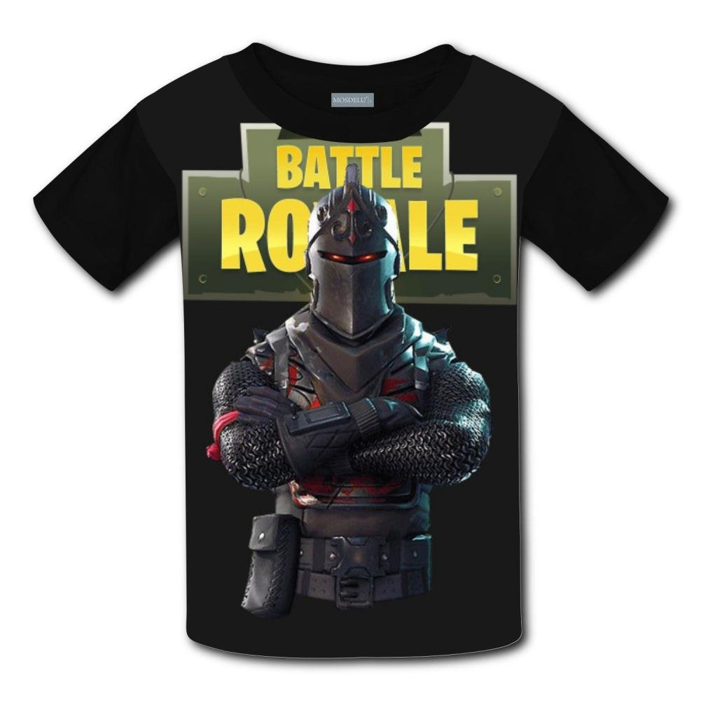 Unisex Youth 3D Fortnite Dark Warrior 3D Printing T- Shirts Short Sleeve Kids Tee L