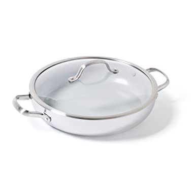 GreenPan CC000014-001 Venice Pro Stainless Steel 100% Toxin-Free Healthy Ceramic Nonstick Metal Utensil/Dishwasher/Oven Safe Covered Everyday Pan, 12-Inch, Light Grey