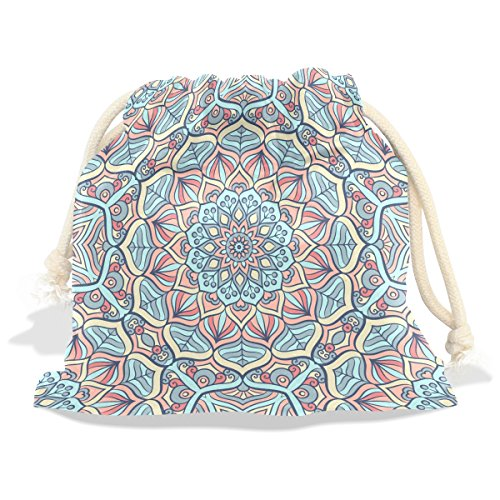 Indian Mandala Velvet Drawstring Gift Bag Wrap Present Pouches Favor for Jewelry, Coin, Holiday, Birthday, Party