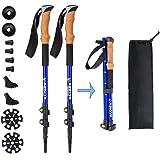 Aihoye Trekking Waling Hiking Poles Collapsible Lightweight - Adjustable Anti-Shock 7075 Hiking Walking Sticks 2 Pack…