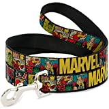 Buckle-Down DL-WAV042 Dog Leash, Marvel/Retro Comic Panels Black/Yellow, 4'