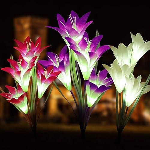 Outdoor Solar Garden Stake Lights, Multi-Color Changing LED Solar Landscape Lighting Light for Garden, Patio Outdoor Solar Garden Stake Lights-3
