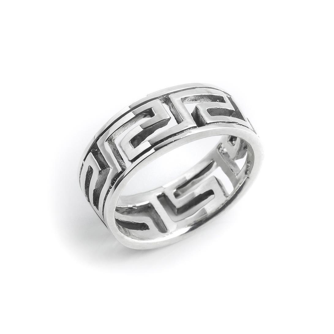 Silverly Frauen M/änner .925 Sterling Silber Offen griechischen Schl/üssel 7 mm Ring