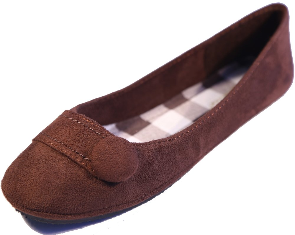 New Women Suede Flat Shoes B00JG7QQHO 10 B(M) US|Chess Brn