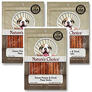 (3 Pack) Nature's Choice Sweet Potato & Duck Soft Chew Meat Sticks contains Glucosamine & Chondroitin for Hip & Joint Health 2oz