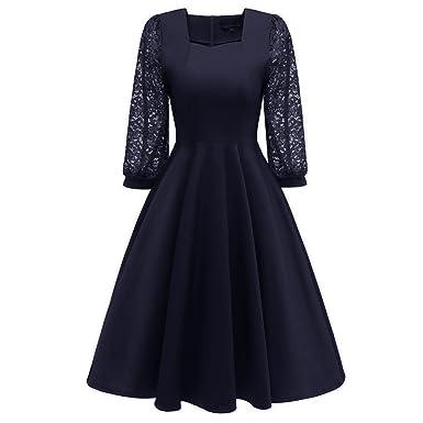 1c0a7c087a0a2 Hffan Damen Spitze Retro-Stil Eckiger Kragen A-Linie Kleid Frauen Festliche  Elegante Kleider