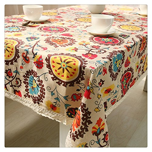 Vintage Cotton Linen Rectangular Tablecloth, Kitchen Restaurant Tablecloth, Lace Sun Flower Table Cloth Set, Dustproof, Waterproof, Heavy Weight Fabric Decorative Table Top Cover, 24 x 24 Inch
