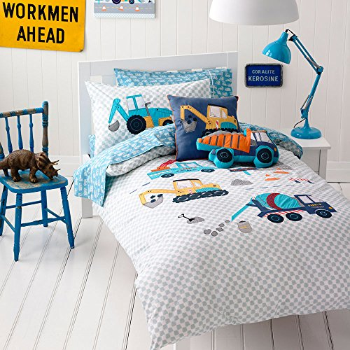 MakeTop Excavator Construction Vehicles Trucks Kids Boys Bedding Set (Twin, 2 Pieces)