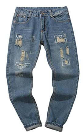 4709ec5215f Fensajomon Men Ripped Distressed Straight Leg Casual Slim Harem Denim Jeans  Pants Blue 28