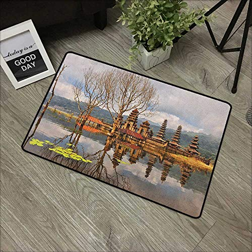 (Entry Way Outdoor Door Mat Balinese,Forest Trees Temple Cloudy Sky Reflection on Tamblingan Lake Bali Landscape Print, Brown Grey,with Non Slip Backing,24